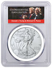 2017 American Silver Eagle PCGS MS70 FS White Gasket Trump & Pence SKU45778