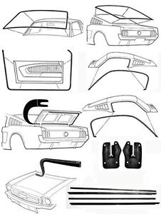New! 1965 - 1966 MUSTANG Fastback Deluxe Weatherstrip Seal Kit Windshield Doors