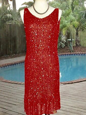 !GLAM!  Badgley Mischka Eve Dress 100% SPARKLEY BEADS+SEQUINS 10-12 M FR42