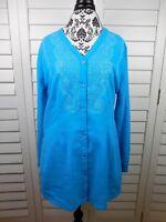 Ulla Popken Embellished V-Neck Blouse Women's Large Blue Shirt Relaxed Fit Top