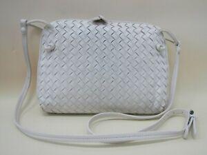 Vintage Bottega Veneta Women's Woven White Leather Crossbody Shoulder Bag Italy