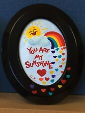 "acrylic painting ""You Are My Sunshine"" w/sun, rainbow, hearts, personalized free"