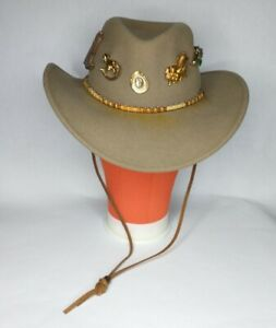 Renegade Lite Felt 100% Felted Wool Cowboy Cowgirl Hat With 6 Pins Size Small
