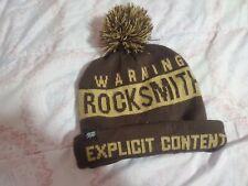 Rocksmith Warning Explicit Content Beanie brown white winter head wear gear