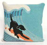 """PILLOWS - """"RUFF SURF"""" HAND TUFTED PILLOW - 18"""" SQUARE - BLACK LAB ON SURFBOARD"""