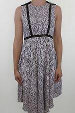 H&M black & white animal print silk feel empire skater dress size 8 - 10