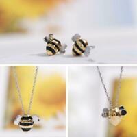 Biene Anhänger Halskette Ohrringe Exquisite Cute Biene Schlüsselbein Kette Q1P6