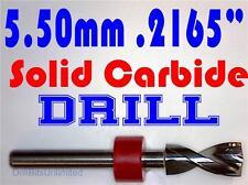 ".2165"" 5.50mm  -Solid Carbide Drill Bit - 1/8"" Shank -Sharp! CNC Hobby Model -lu"