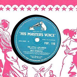 MAX BYGRAVES XMAS 78 THE LITTLE LAPLANDER / MEET ME ON THE CORNER HMV POP 116 E-
