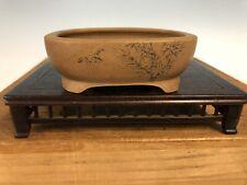 "Handmade Etched Shohin Size Bonsai Tree Pot By Maruhei 3 3/4"""