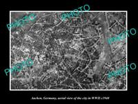 OLD POSTCARD SIZE PHOTO AACHEN GERMANY, AERIAL VIEW OF THE CITY IN WWII c1940