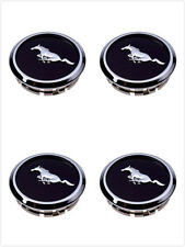 4X Mustang Wheel Center Hub Caps Covers Black Chrome Pony Emblem  2005-2014