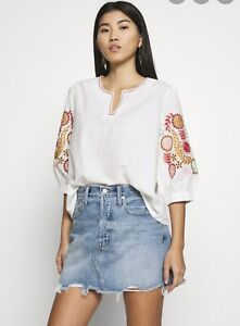 NWT Madewell Embroidered Eyelet Top Blouse Cotton Crochet White M 3/4 Sleeve
