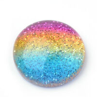10 x Colorful Dome Half Round Rainbow Resin Cabochons with Glitter Powder 16x5mm
