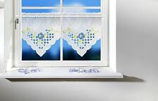 2er Set Scheibengardinen mit Lochstickerei und blauen Blumen, neu