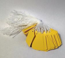 1000 pre-strung tags, Yellow string tags price tags, merchandise pricing