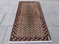 Vintage Hand Made Traditional Rug Oriental Wool Brown Red Rug 206x109cm