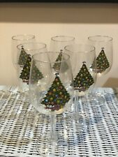 New listing Vintage 1988 Christmas Tree Wine Glasses By Carlton Set Of 6 Beverage Holiday
