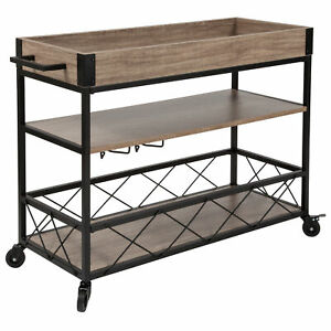 Buckhead Distressed Light Oak Wood and Iron Kitchen Serving and Bar Cart with...