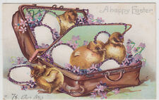Chicks in Suitcase IAP UDB Easter Vintage Glitter Postcard