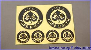 GOLD CAFE RACER Chequered Flag 100+ Sticker Decals Kit Enfield CB750 Ducati 500