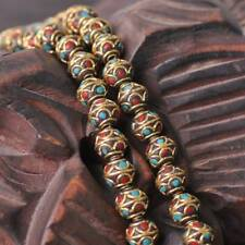 2pcs 12x11mm Handmade Nepalese Tibetan Turquoise Brass Loose Craft Beads 1#