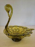 "Viking Glass Yesteryear Bullseye Green Swan Candy Dish. 7"" Tall, 6"" Wide. Rare."