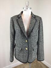 J Crew XL 14 Black Gray Blazer Hacking Jacket Wool silk Excellent Career Casual