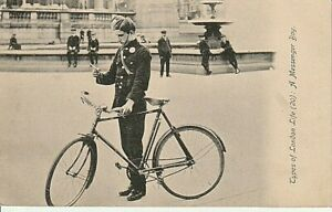 1921 TYPES OF LONDON LIFE - A Messenger Boy with bike