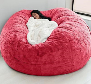 Giant Fluffy Fur Bean Bag Bedspread Floor-standing Sofa Futon Without Padding