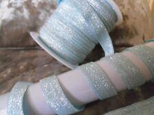 RUBAN  BLEU CLAIR  ELASTIQUE  PAILLETTES  métalliques  15 mm NEUF vendu au mètre