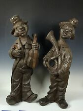 PAIR OF LARGE CLOWN PLAYING INSTRUMENT PAPER MACHE MOLD/SCULPTURE