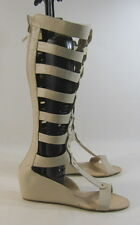 "new Skintone 2""Wedge Heel Open Toe Strap Sexy Summer Gladiator Knee Boot Size 7"
