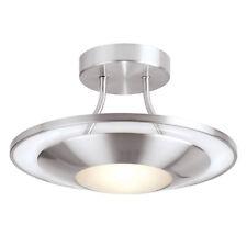 Endon Firenz 387-30SC 1 Light Semi-Flush Ceiling Light Satin Chrome & Glass