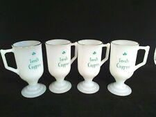 New listing Vintage Federal St Patrick's day Pedestal Mugs shamrock gold rim milk glass