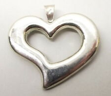 Vtg Sterling Silver Large Puffy Heart Pendant Brooch Pin Mexico Taxco Modernist