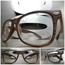 New VINTAGE 80s RETRO Style Clear Lens EYE GLASSES Dark Wood Wooden Effect Frame