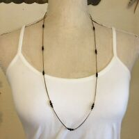 Vintage 80s beaded gold tone chain necklace