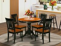 """5pc Kitchen dinette 36"""" round pedestal table with 4 wood chairs in cherry black"""