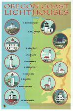 Oregon Coast Lighthouses, Newport, Florence etc - Modern Lighthouse Map Postcard