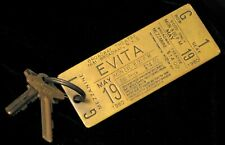 VINTAGE 1979 BROADWAY THEATRE NYC ADVERTISING EVITA SHOW TICKER BRASS KEY FOB !
