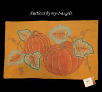 NWT Pottery Barn Thanksgiving Fall PUMPKIN PATCH Embroidered Lumbar Pillow Cover