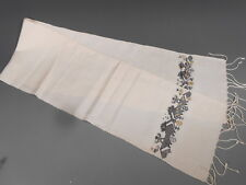 Eastern European Natural White Silk Hand Towel w/ Fine Embroidery Birds & Figure
