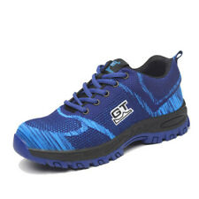 Mens Steel Toe Work Safety Shoes Light Lace Up Waterproof Non Slip Mesh Sneakers