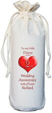 PERSONALISED - 2ND WEDDING ANNIVERSARY TO MY WIFE - COTTON WINE BOTTLE  BAG