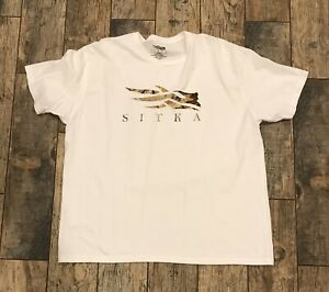 Sitka Mens Core White Tee with Waterfowl March Logo Honeycomb XXL 2XL EUC
