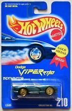 HOT WHEELS 1991 BLUE CARD DODGE VIPER RT/10 #210 W/ GOLD UH WHEELS