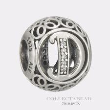 Authentic Pandora Sterling Silver Vintage D Clear CZ Bead 791848CZ