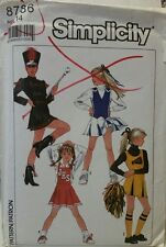Simplicity Pattern 8786 Girls Dress Sz 14 Vintage Cheerleader Majorette Costume