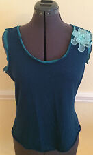 Simply Irresistible Teal Tank Top with Flower Juniors L